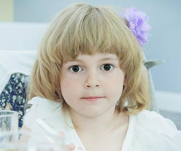 Bangs Rounded Look Back Cute Little Girl Hairstyle