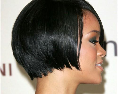Black Bob Cut Hairstyle Reaching Below Ears Provides Nice Frame