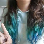 Blue Dip Dyed Tips Girl Hair Peace Turquoise