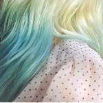 Blue White Long Hair Top Pale Tips
