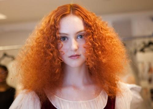 Bright Natural Red Curly Hairstyle Oscar Renta Bridal