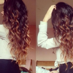 Brown Blonde Curly Hairstyle Clip Wavy Ombre Extension