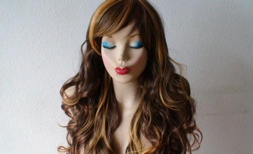 Brown Golden Blonde Honey Mix Color Wig Long Curly Hair