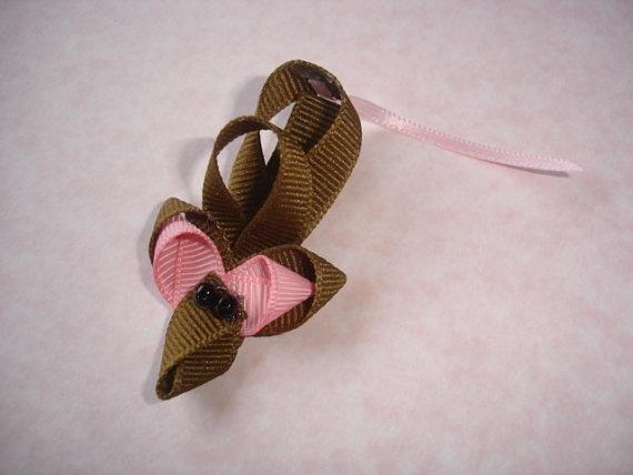 Cute Brown Mouse Hair Clip Barrette Lilahraebowtique