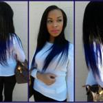 Dark Brown Hair Electric Blue Tips