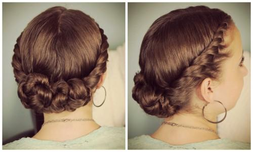 Double Twist Bun Updo Homecoming Hairstyles