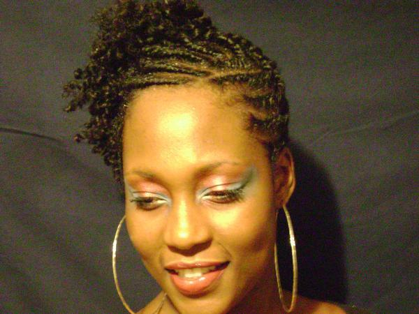 Flat Twists Natural Hairstyle Updo Front