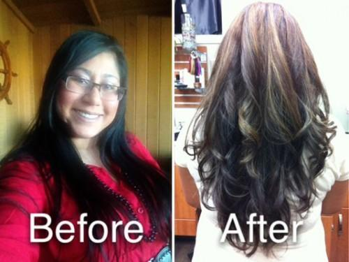 From Black Brown Base Partial Carmel Highlights Long