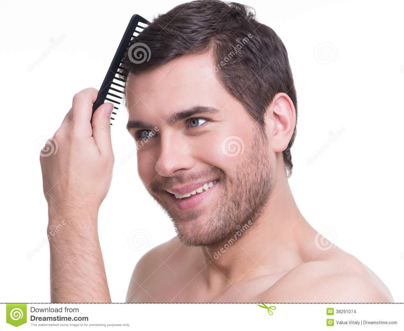 Guy Brushing Hair Clipart Happy Young Man Combing