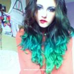 Hair Brown Color Multi Colored Tips Teal