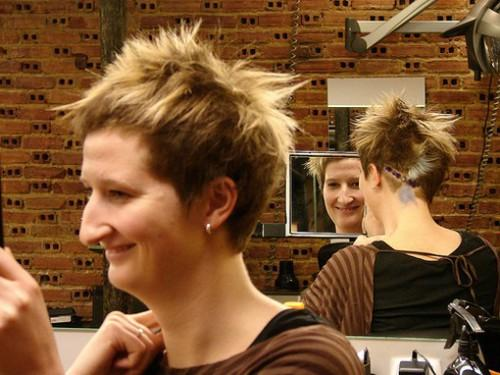 Hair Style Punk Spiky Red Short Blonde Highlights