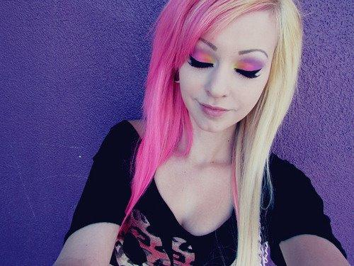 Half Blonde Pink Gauges Cute Girl Pretty Make