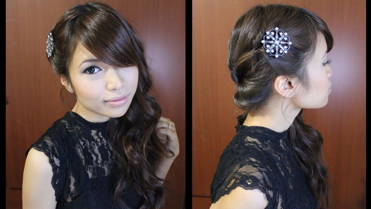 Looped Side Swept Prom Hairstyle For Medium Long Hair Tutorial