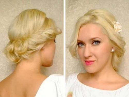Medium Hair Length Cute Easy Curly Updo Hairstyle For Long
