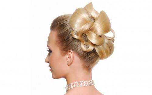 Modern Wedding Hairstyle Rear View Isolated White