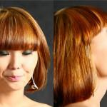 One Length Bob Haircut Straight Bangs For Square Shaped Faces
