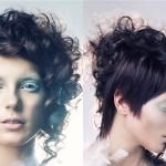 Partly Curly Part Straight Short Asymmetric Pixie Haircut