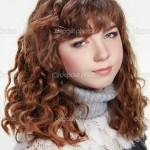 Portrait Teen Girl Long Curly Brown Hair Stock Image