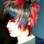 Red Black Emo Guy Hair