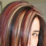 Red Light Brown Highlights Neatly Dispersed Step Cut Hair
