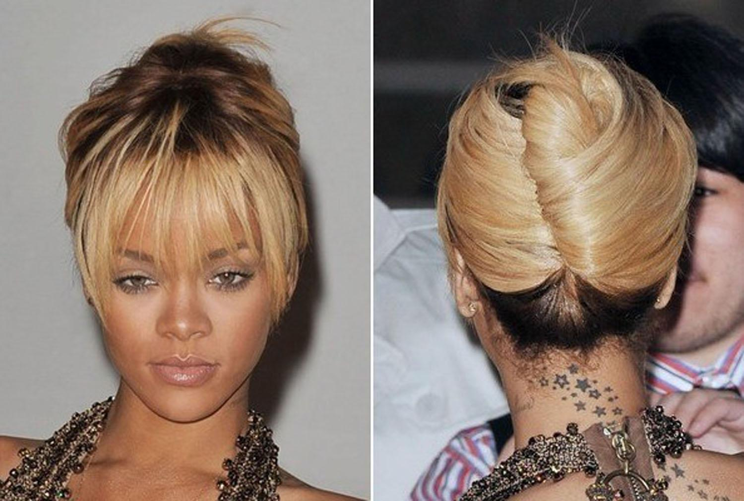 Rihanna French Twist Hairstyle