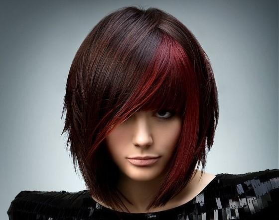 Rush Red Highlights Brown Hair