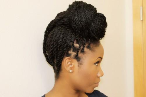 Senegalese Twist Updo Hairstyle