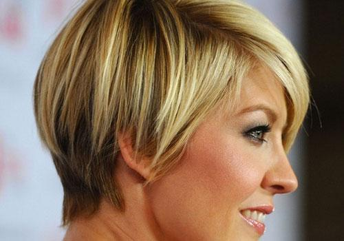Short Layered Bob Haircut Worn Side Parting Displays Sweet
