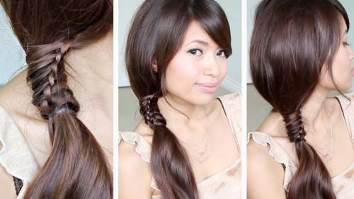 Staircase Stitch Ponytail Hairstyle For Medium Long Hair Tutorial