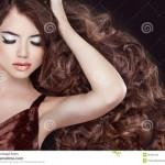Stock Images Wavy Brown Hair Glamour Fashion Woman Portrait