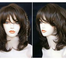 Syntic Hair Wig New Flowing Wavy Bangs Medium Brown Trmv