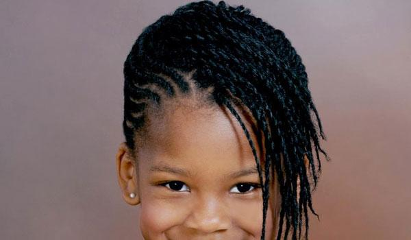 This Small Girl Natural Twist Hairstyle Partly Loosened Face