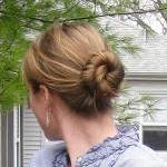 Twisted Bun Hairstyle For Medium Length Hair Leaves Nape Open