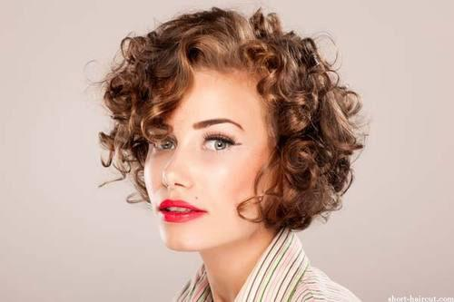 Young Girls Short Curly Hairstyles Look Smart Bangs Also